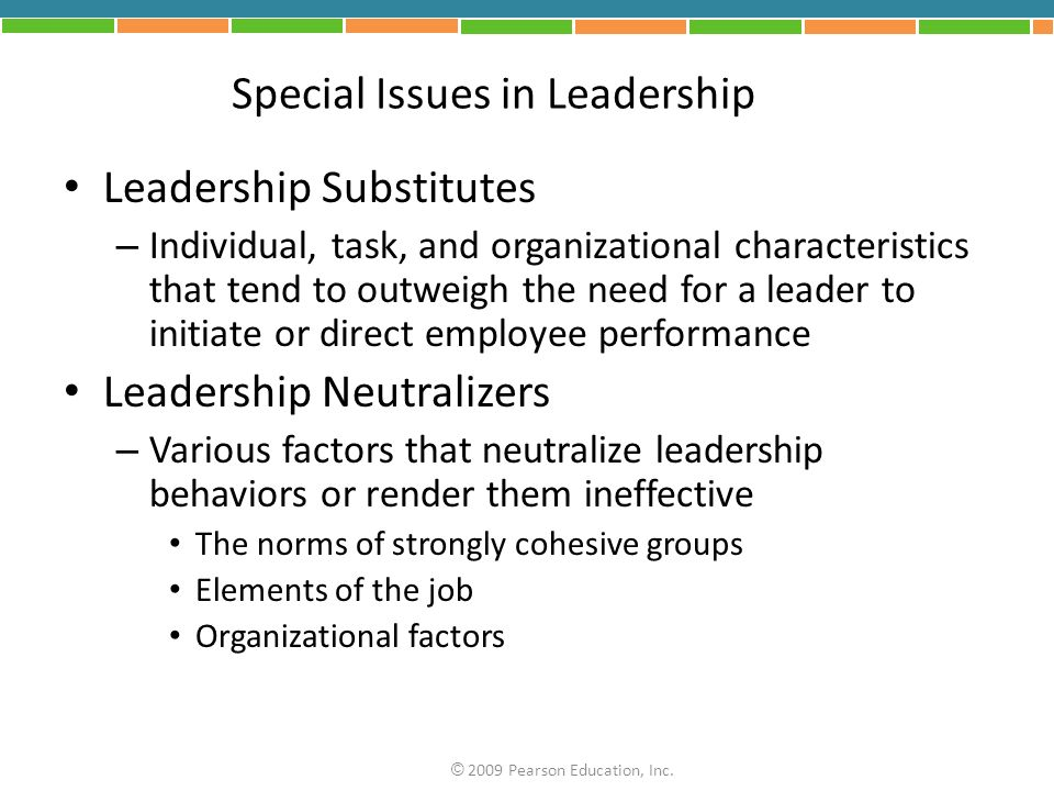 Special Issues in Leadership