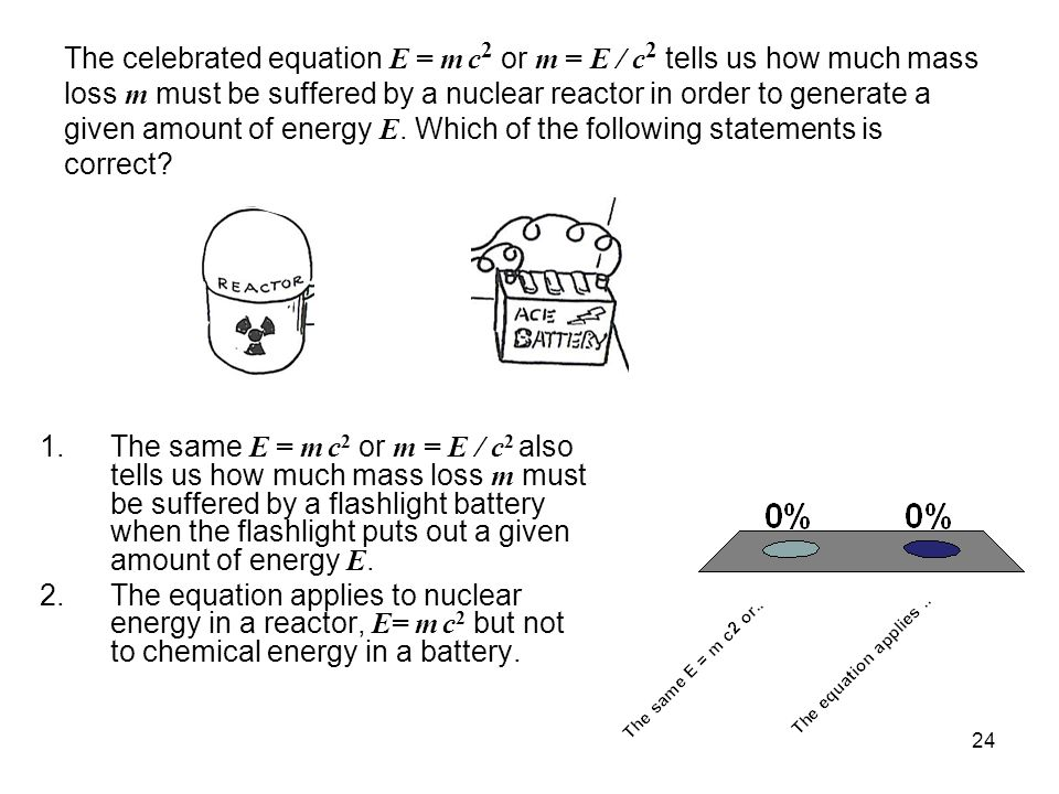 The celebrated equation E = m c2 or m = E / c2 tells us how much mass loss m must be suffered by a nuclear reactor in order to generate a given amount of energy E. Which of the following statements is correct