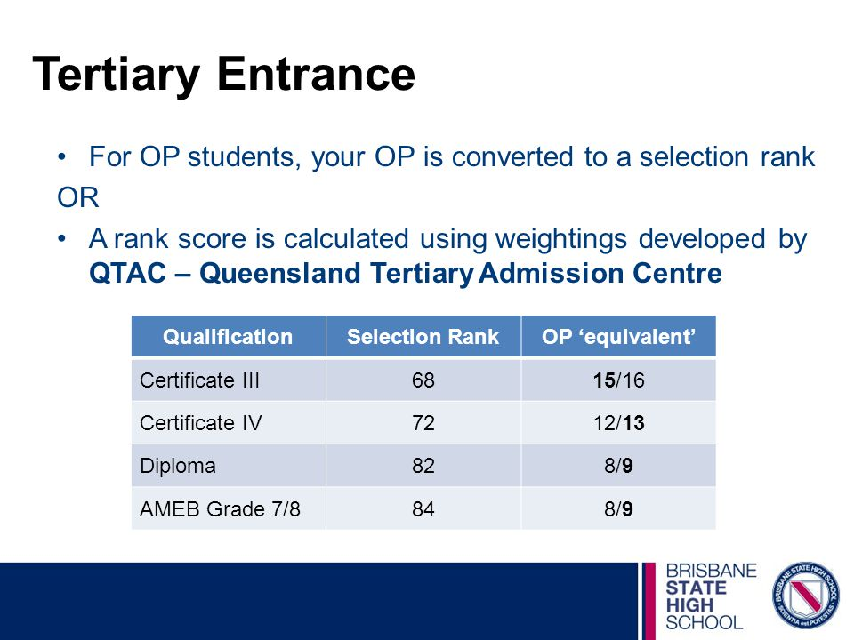 Tertiary Entrance For OP students, your OP is converted to a selection rank. OR.