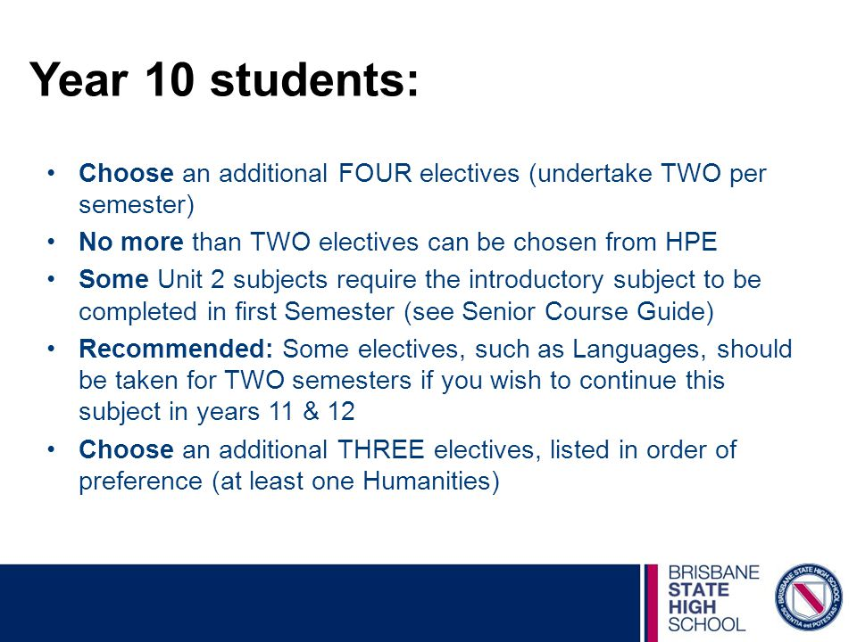Year 10 students: Choose an additional FOUR electives (undertake TWO per semester) No more than TWO electives can be chosen from HPE.