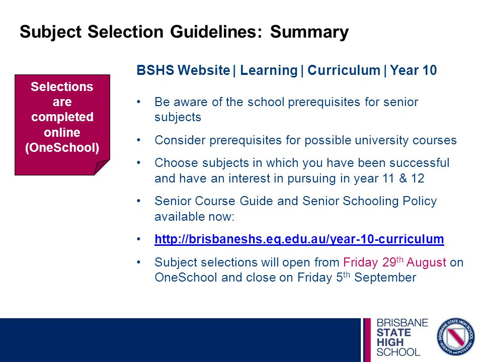 Subject Selection Guidelines: Summary