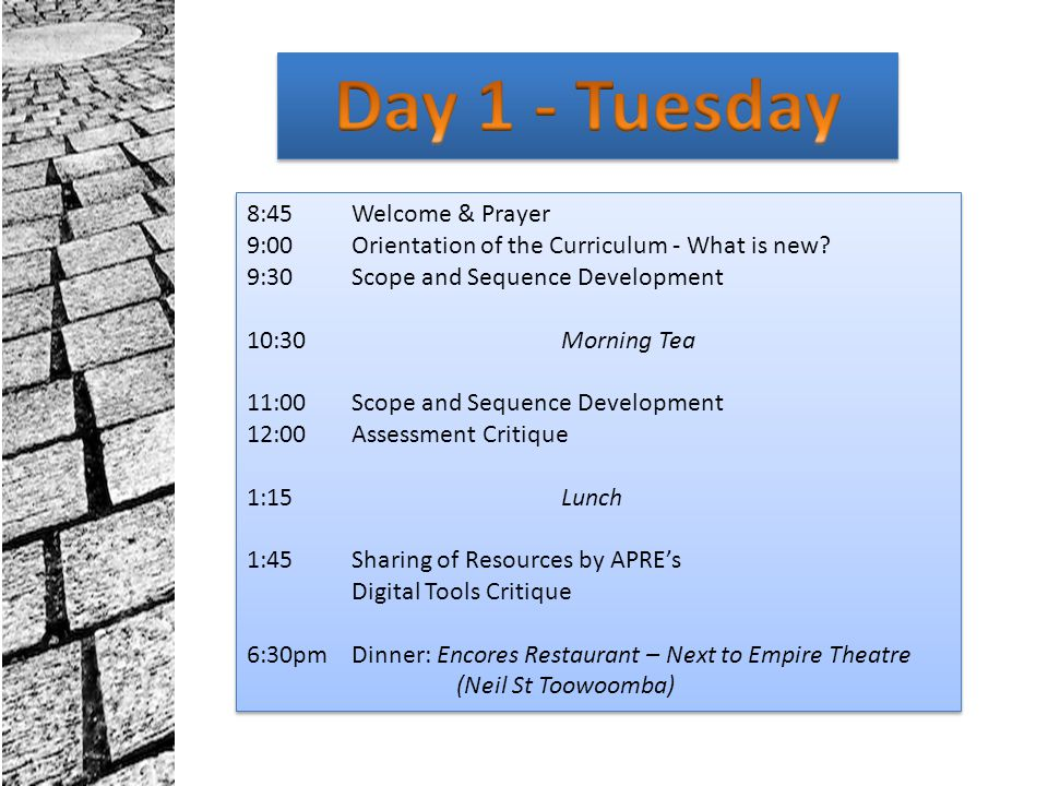 Day 1 - Tuesday 8:45 Welcome & Prayer