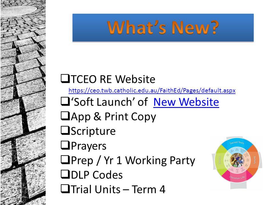 What's New TCEO RE Website https://ceo.twb.catholic.edu.au/FaithEd/Pages/default.aspx. 'Soft Launch' of New Website.