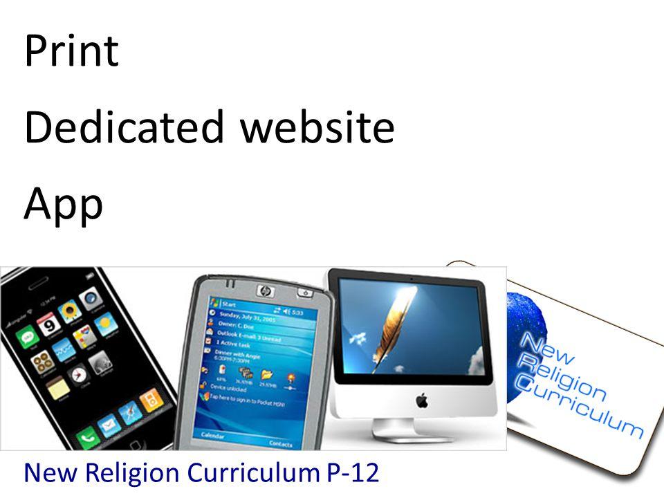 Print Dedicated website App New Religion Curriculum P-12