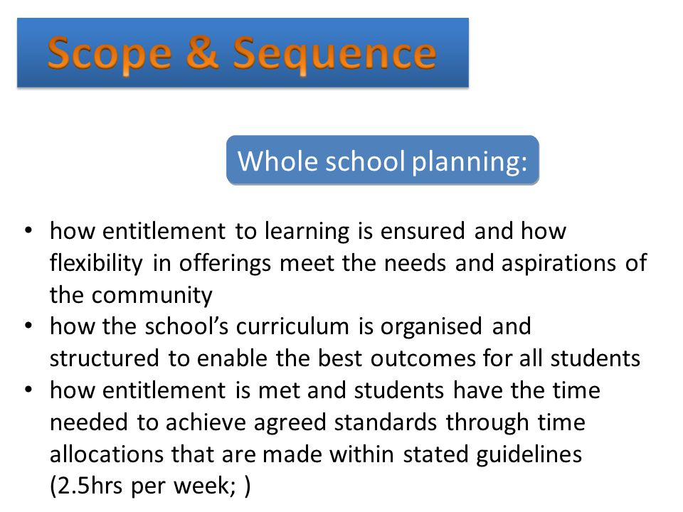 Scope & Sequence Whole school planning: