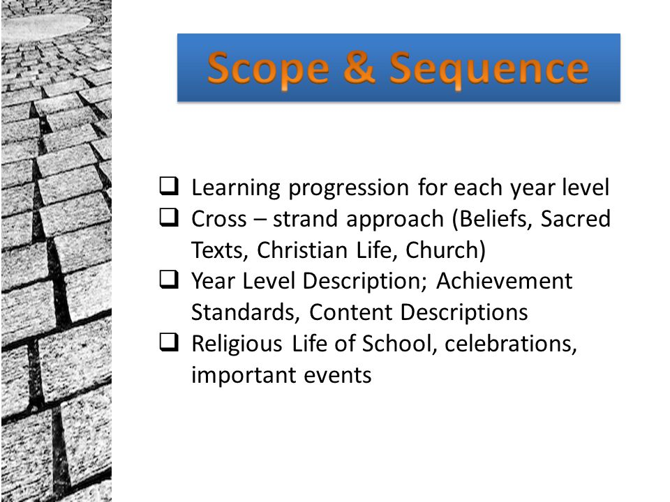 Scope & Sequence Learning progression for each year level