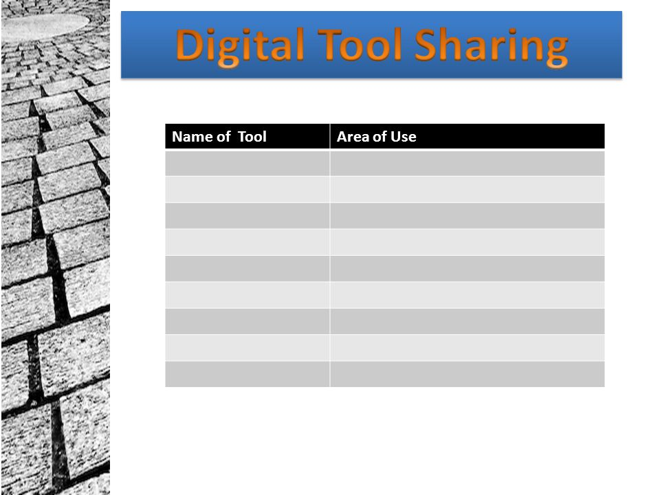 Digital Tool Sharing Name of Tool Area of Use