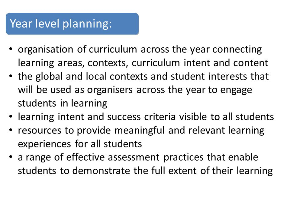 Year level planning: organisation of curriculum across the year connecting learning areas, contexts, curriculum intent and content.