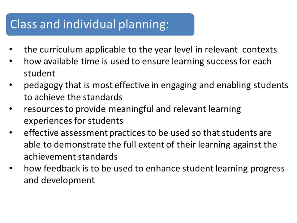 Class and individual planning: