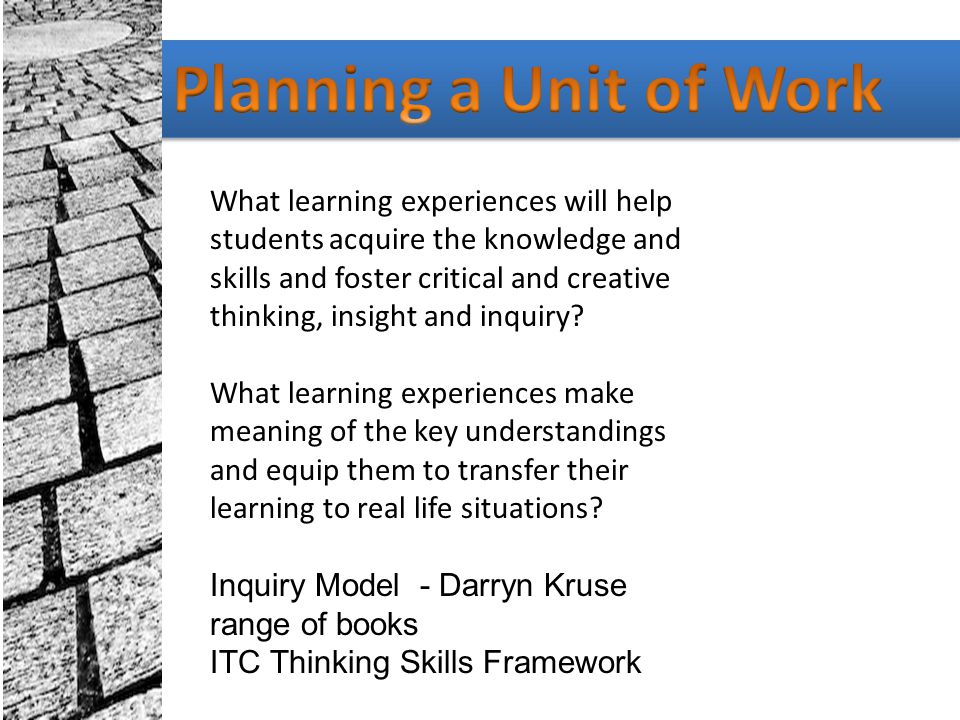 Planning a Unit of Work