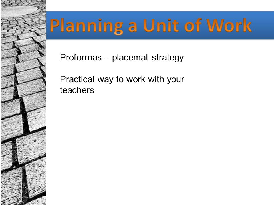 Planning a Unit of Work Proformas – placemat strategy