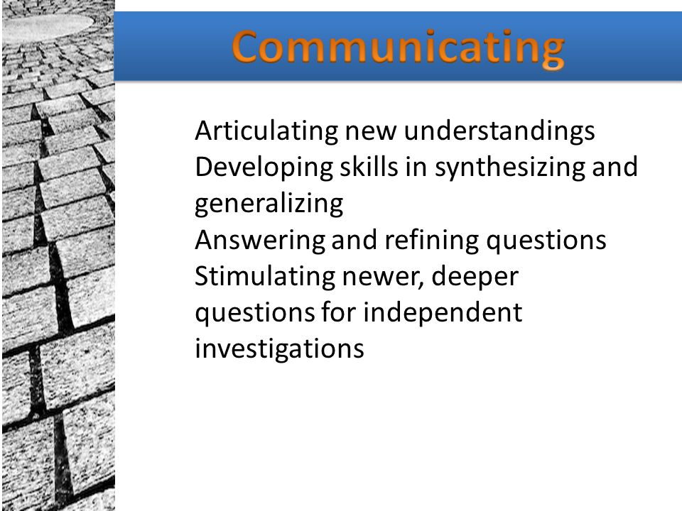 Communicating Articulating new understandings