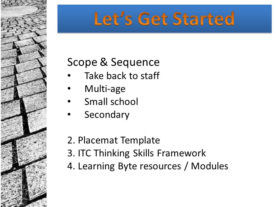 Let's Get Started Scope & Sequence Take back to staff Multi-age