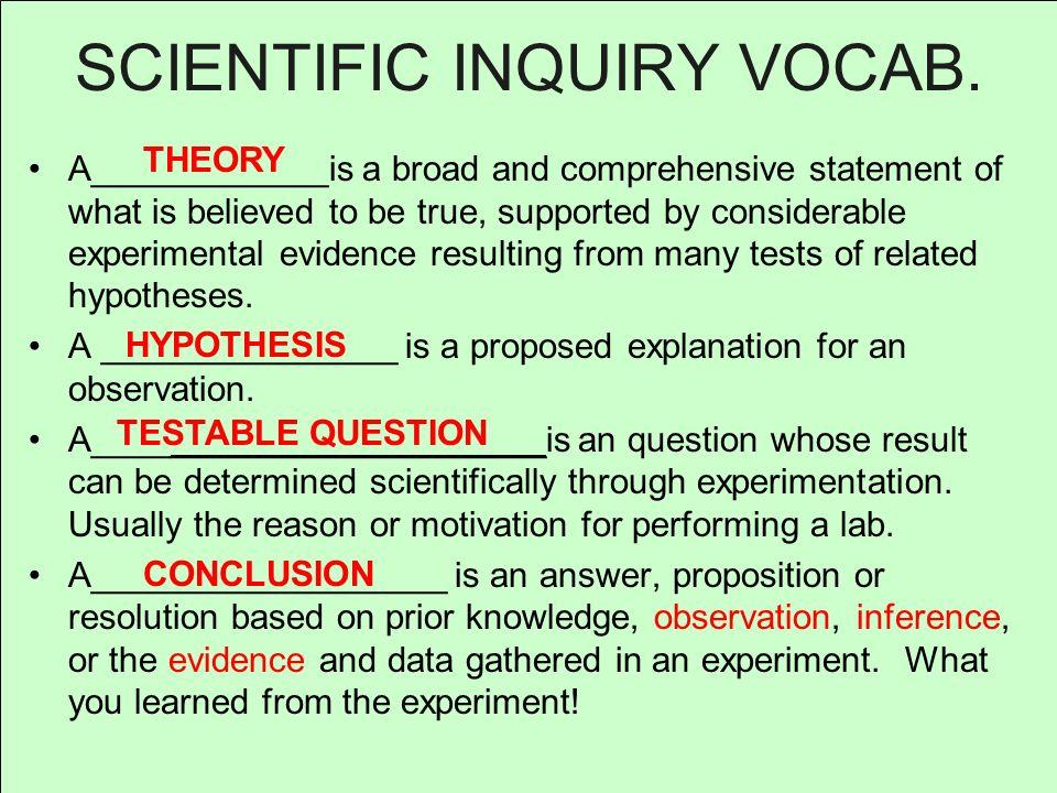 SCIENTIFIC INQUIRY VOCAB.