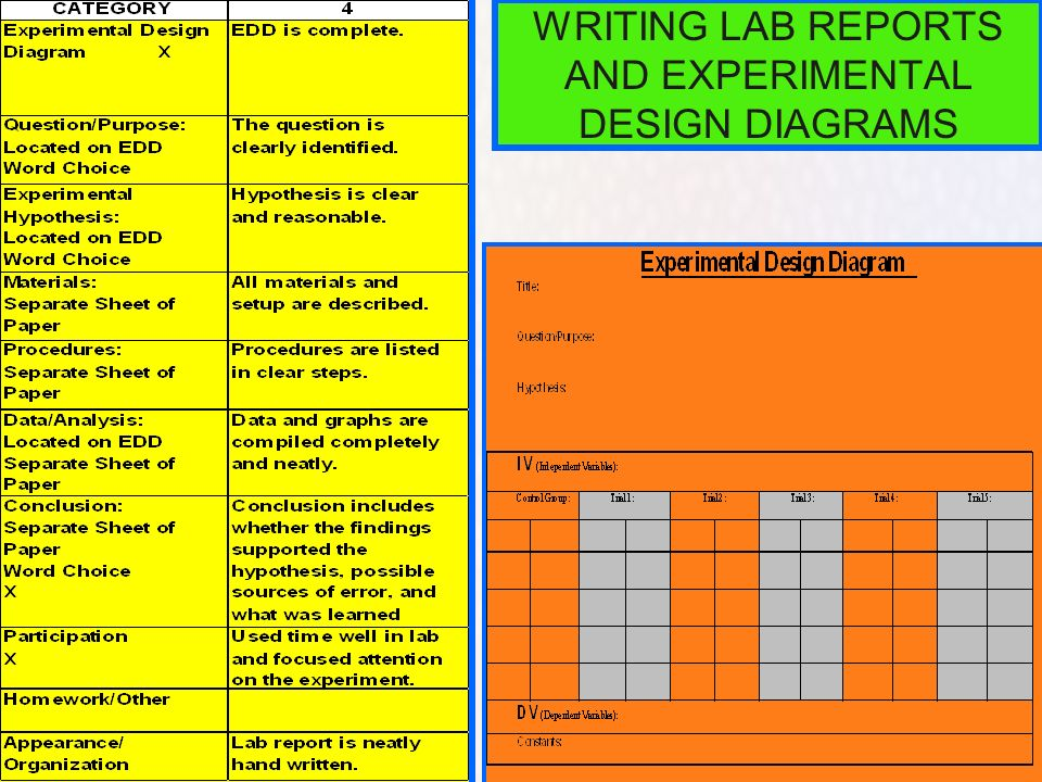 WRITING LAB REPORTS AND EXPERIMENTAL DESIGN DIAGRAMS