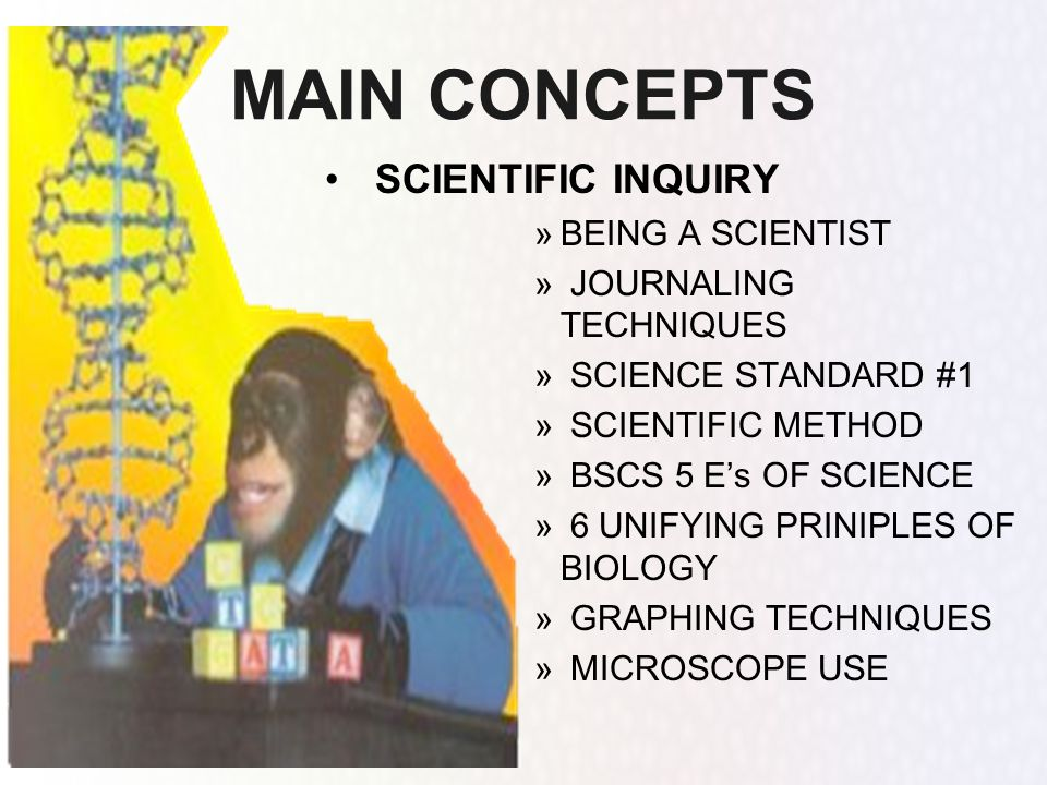 MAIN CONCEPTS SCIENTIFIC INQUIRY BEING A SCIENTIST