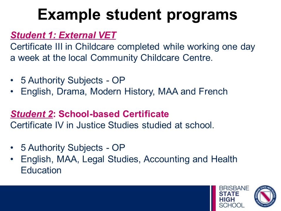 Example student programs