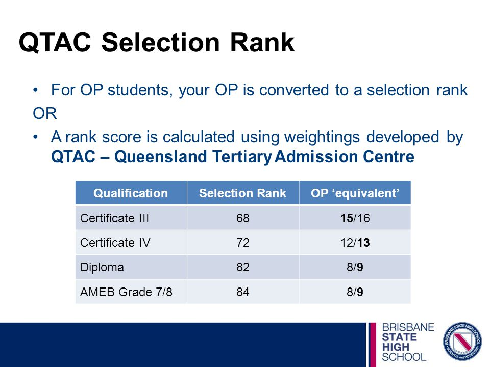 QTAC Selection Rank For OP students, your OP is converted to a selection rank. OR.