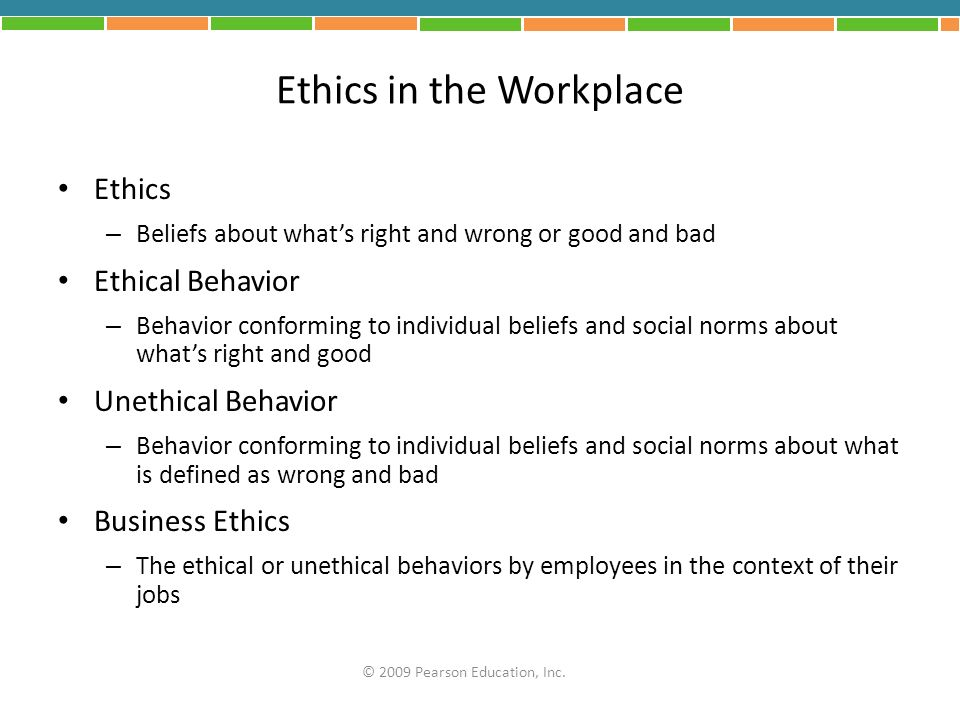 values and ethics in the workplace