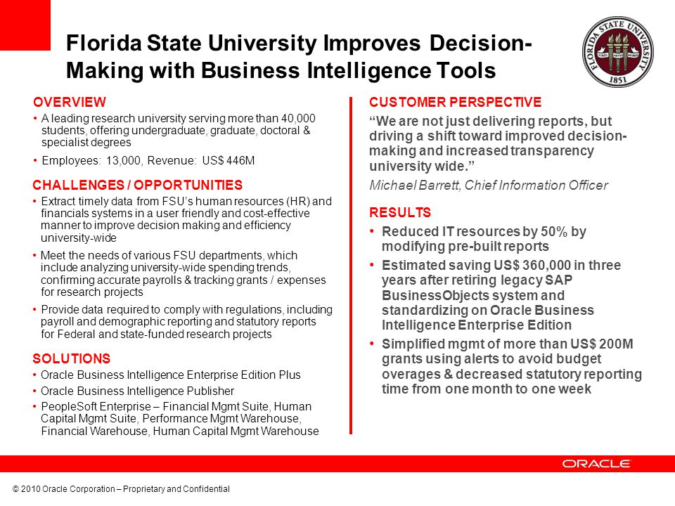Florida State University Improves Decision- Making with Business Intelligence Tools