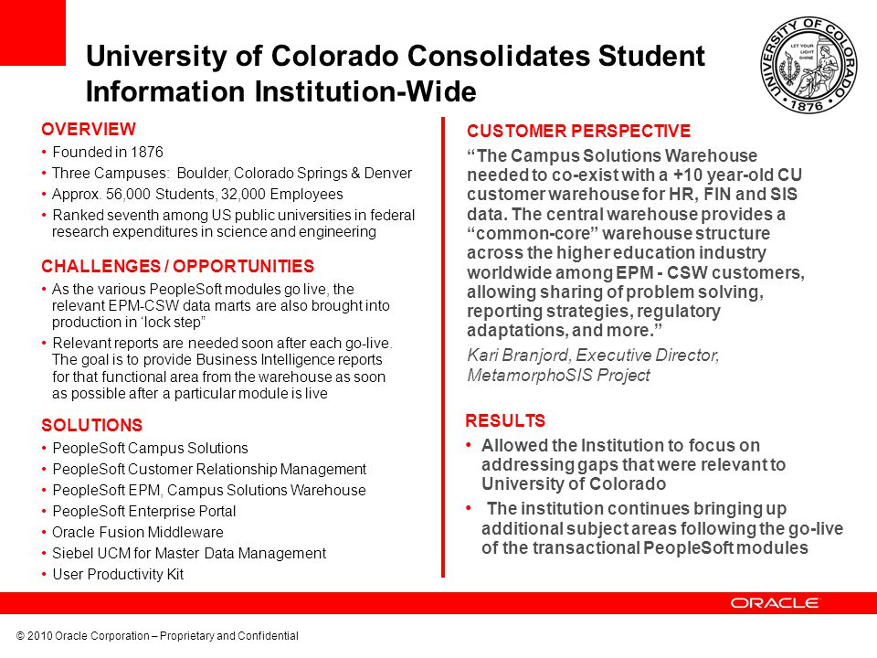University of Colorado Consolidates Student Information Institution-Wide