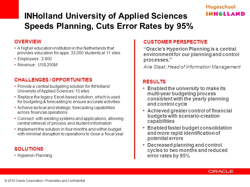 INHolland University of Applied Sciences Speeds Planning, Cuts Error Rates by 95%