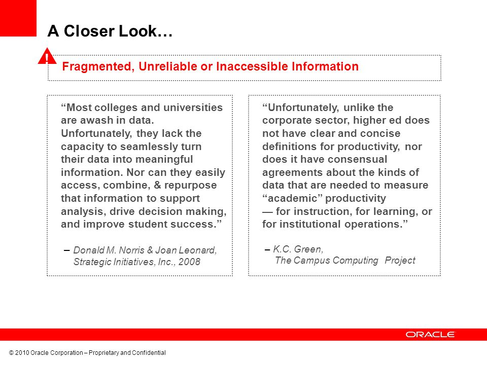 A Closer Look… ! Fragmented, Unreliable or Inaccessible Information