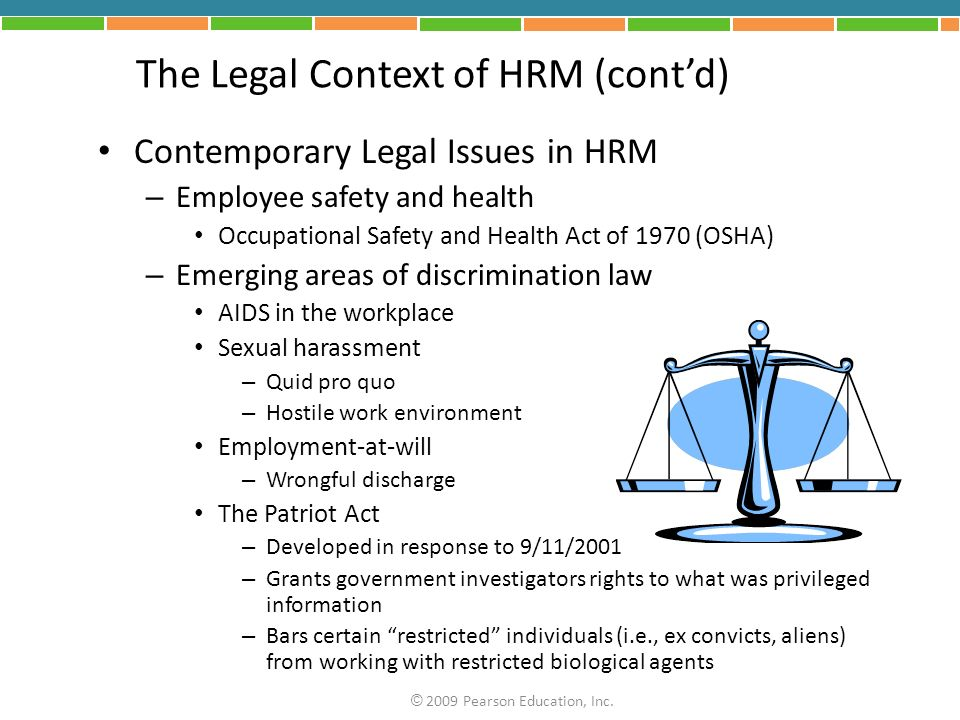 The Legal Context of HRM (cont'd)