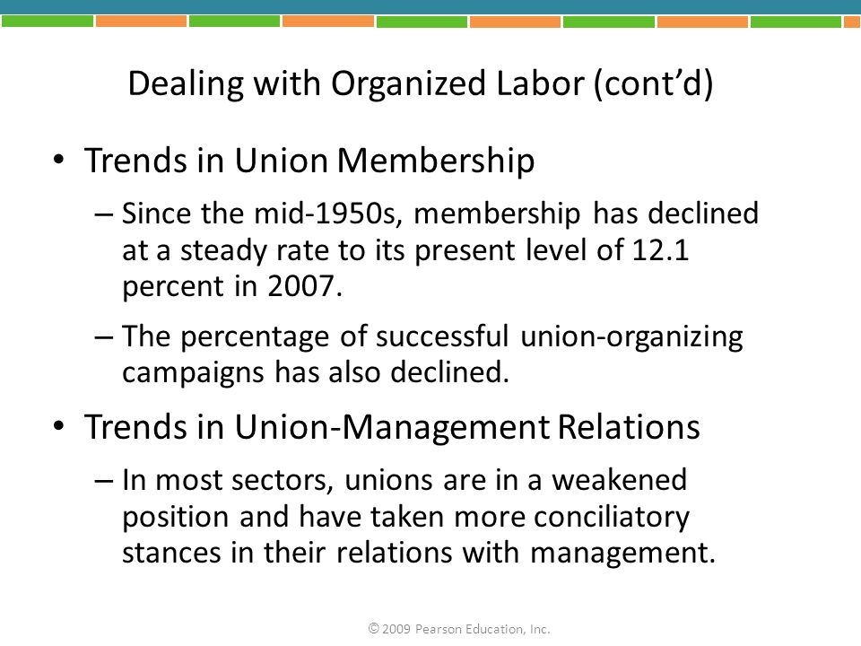 Dealing with Organized Labor (cont'd)