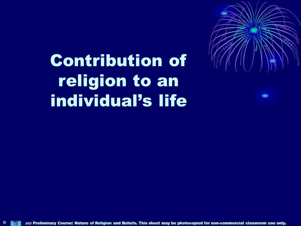 Contribution of religion to an individual's life