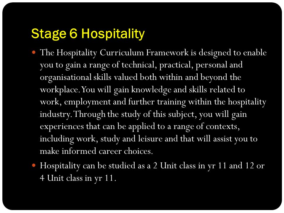 Stage 6 Hospitality