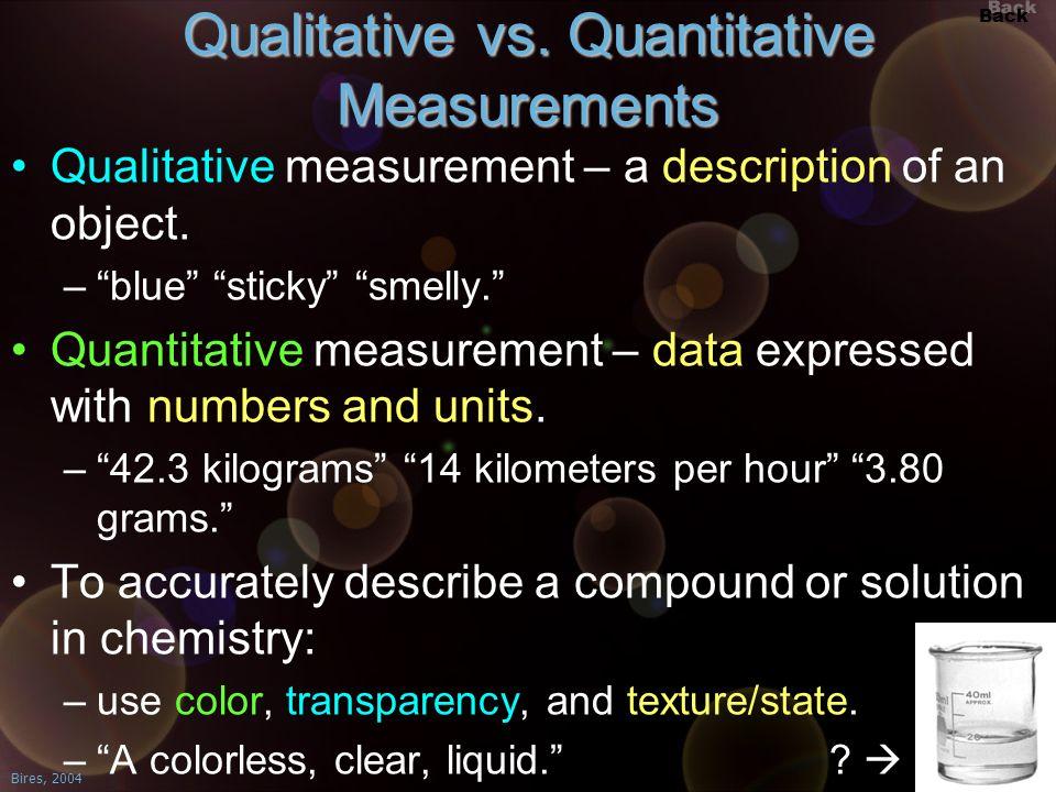 Qualitative vs. Quantitative Measurements
