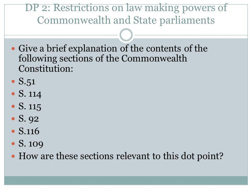 DP 2: Restrictions on law making powers of Commonwealth and State parliaments