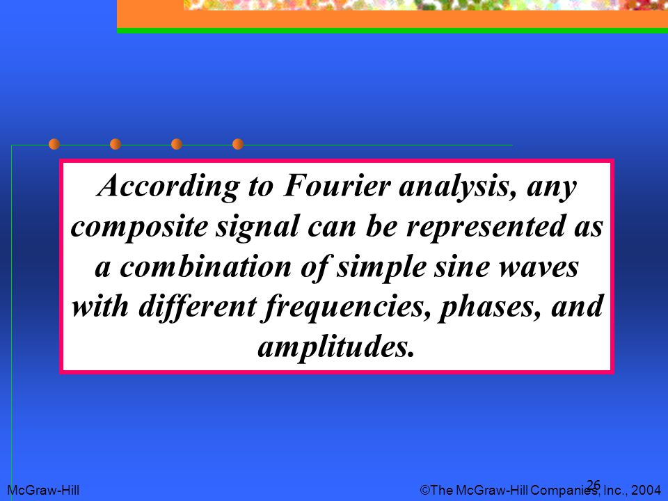 According to Fourier analysis, any composite signal can be represented as a combination of simple sine waves with different frequencies, phases, and amplitudes.