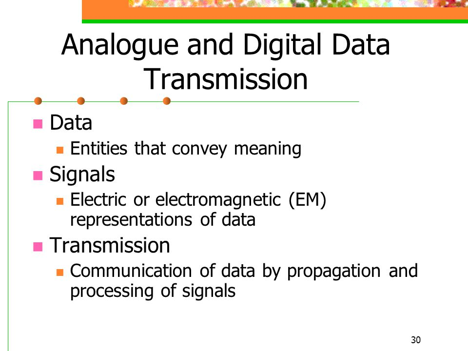 Analogue and Digital Data Transmission
