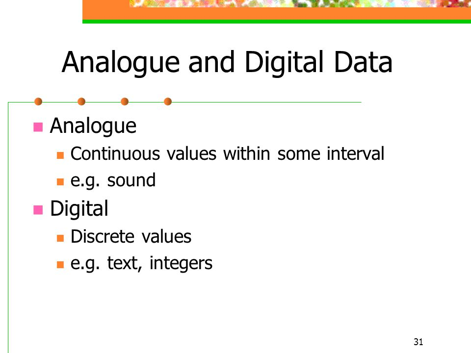 Analogue and Digital Data