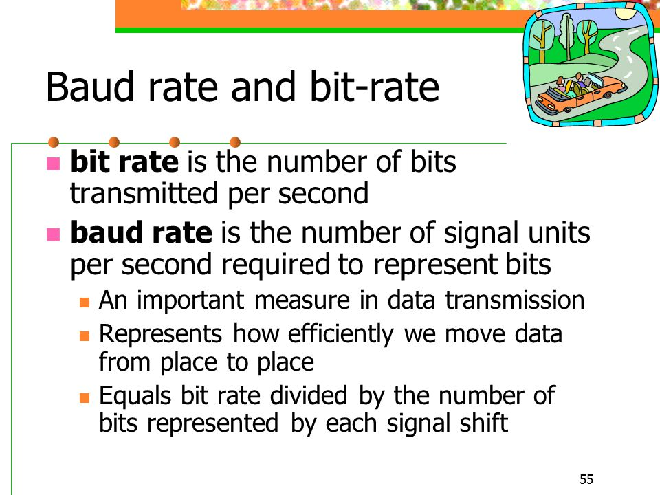 Baud rate and bit-rate bit rate is the number of bits transmitted per second.