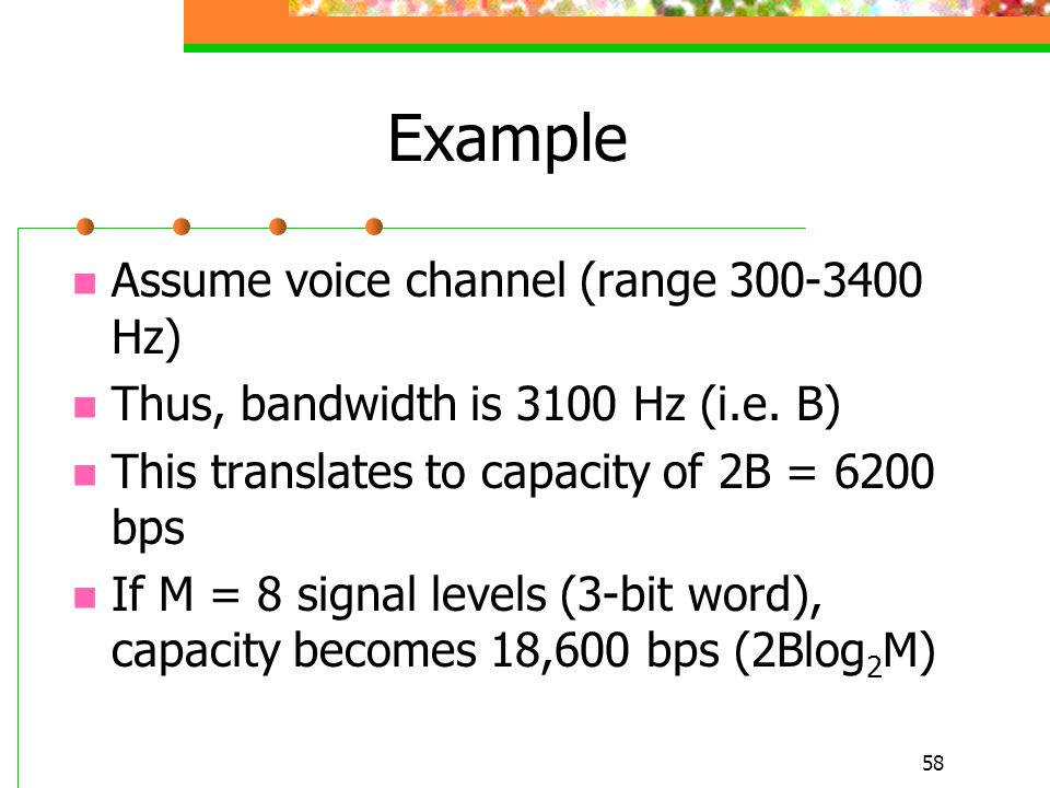 Example Assume voice channel (range 300-3400 Hz)