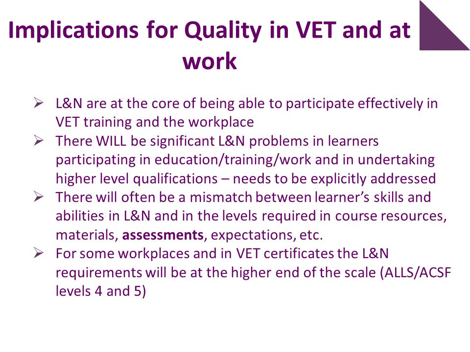 Implications for Quality in VET and at work
