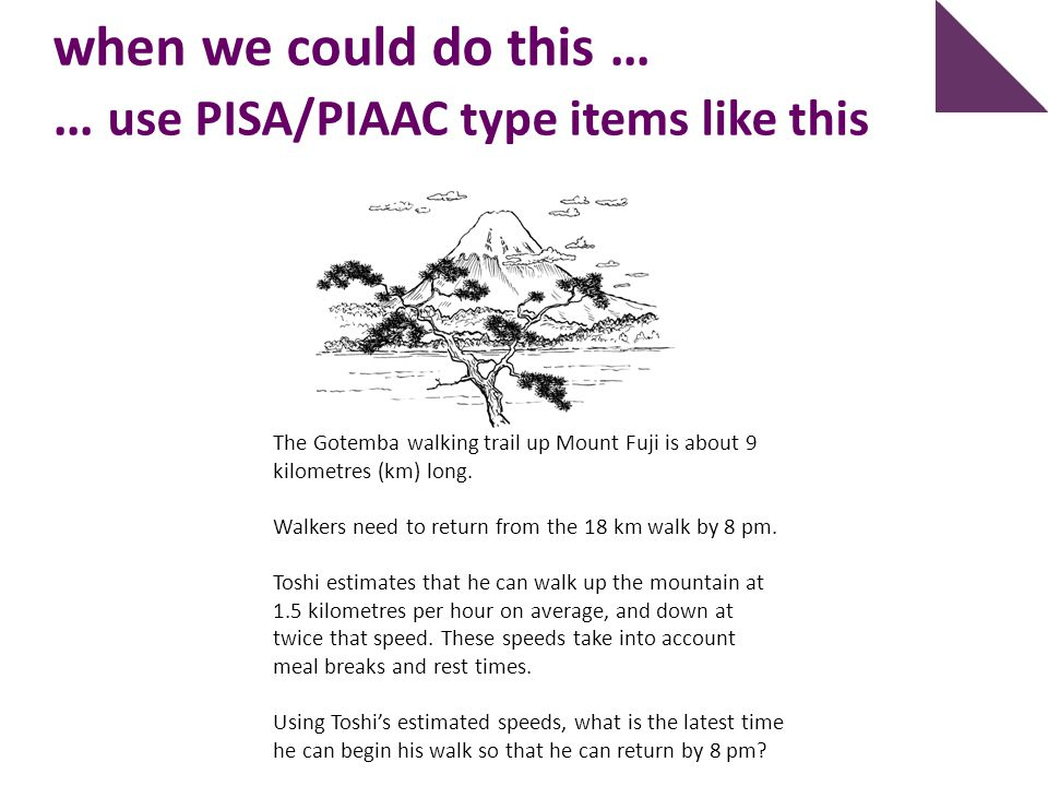 when we could do this … … use PISA/PIAAC type items like this