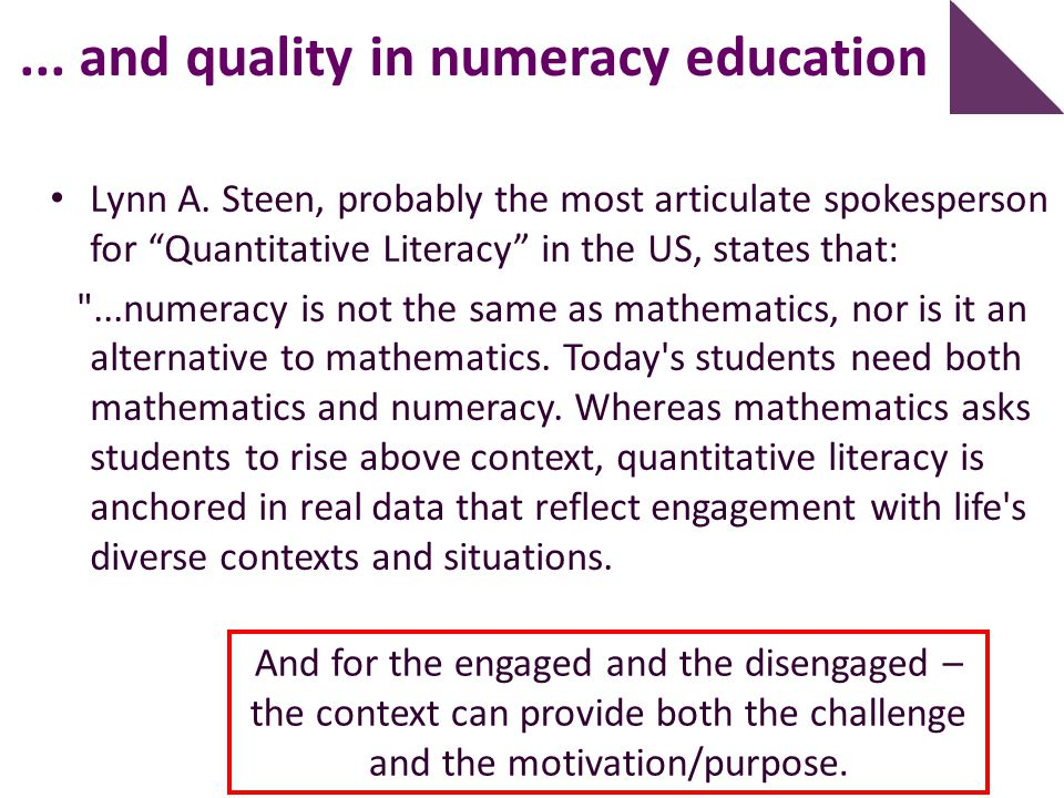 ... and quality in numeracy education