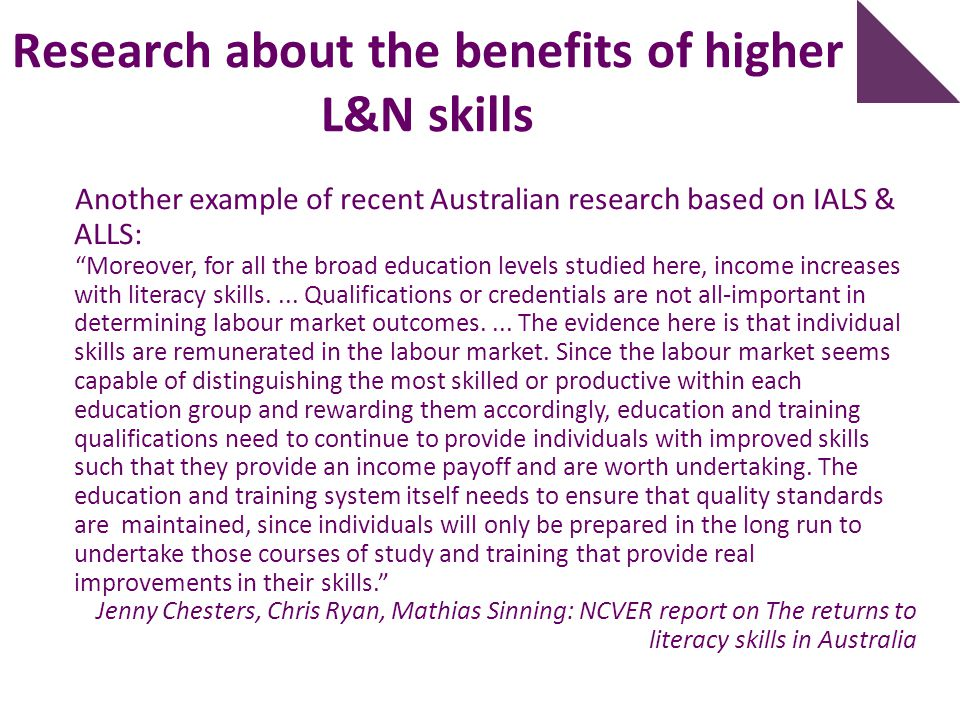 Research about the benefits of higher L&N skills