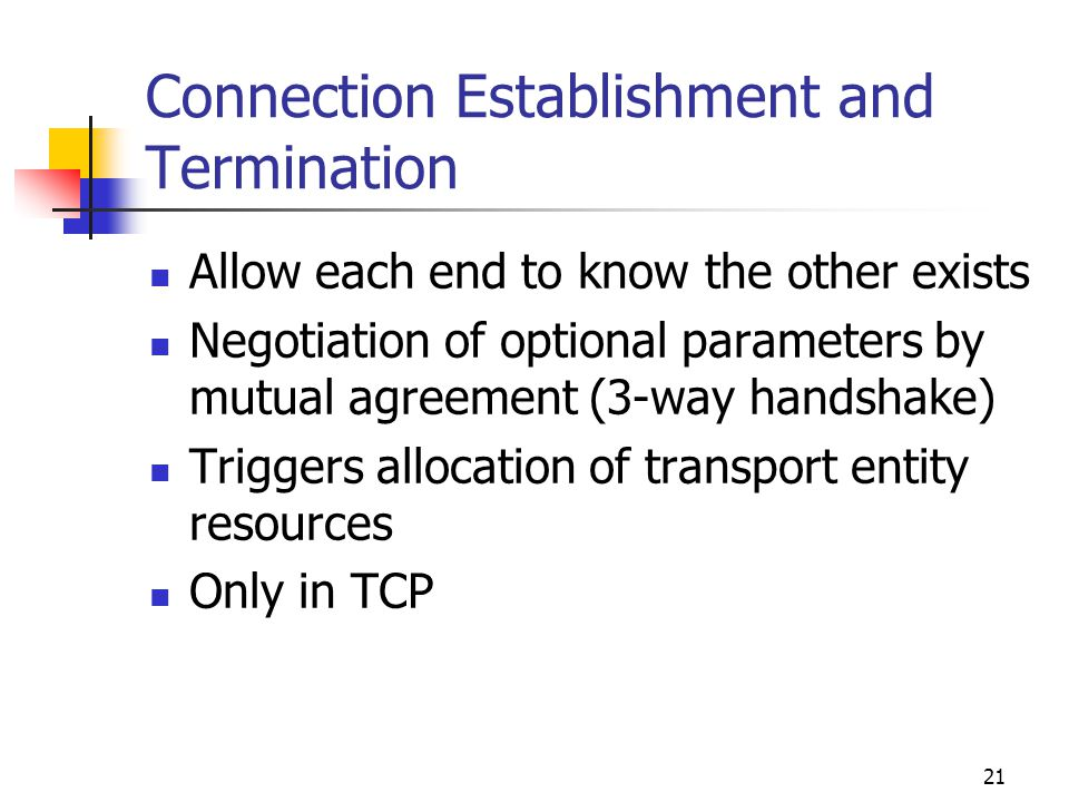 Connection Establishment and Termination