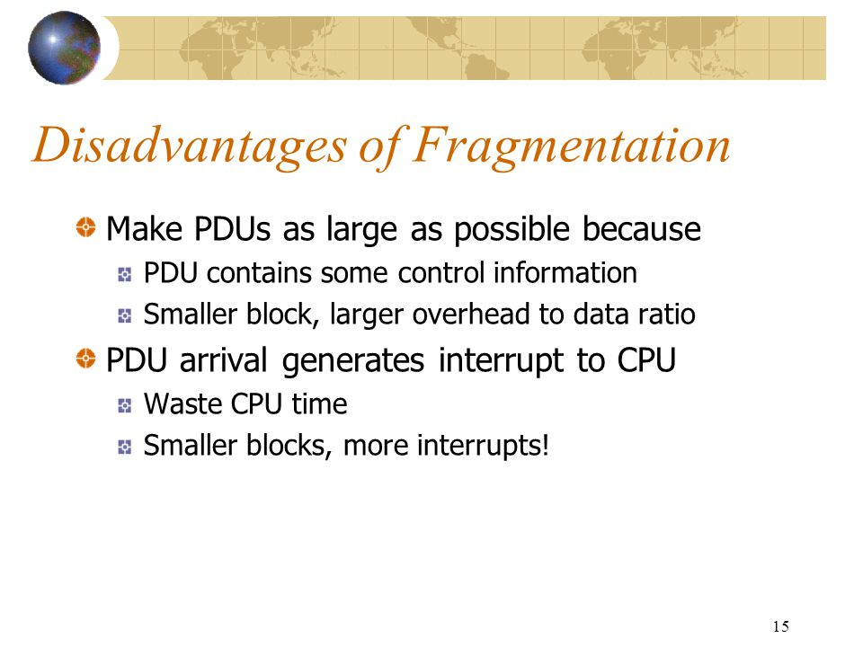 Disadvantages of Fragmentation