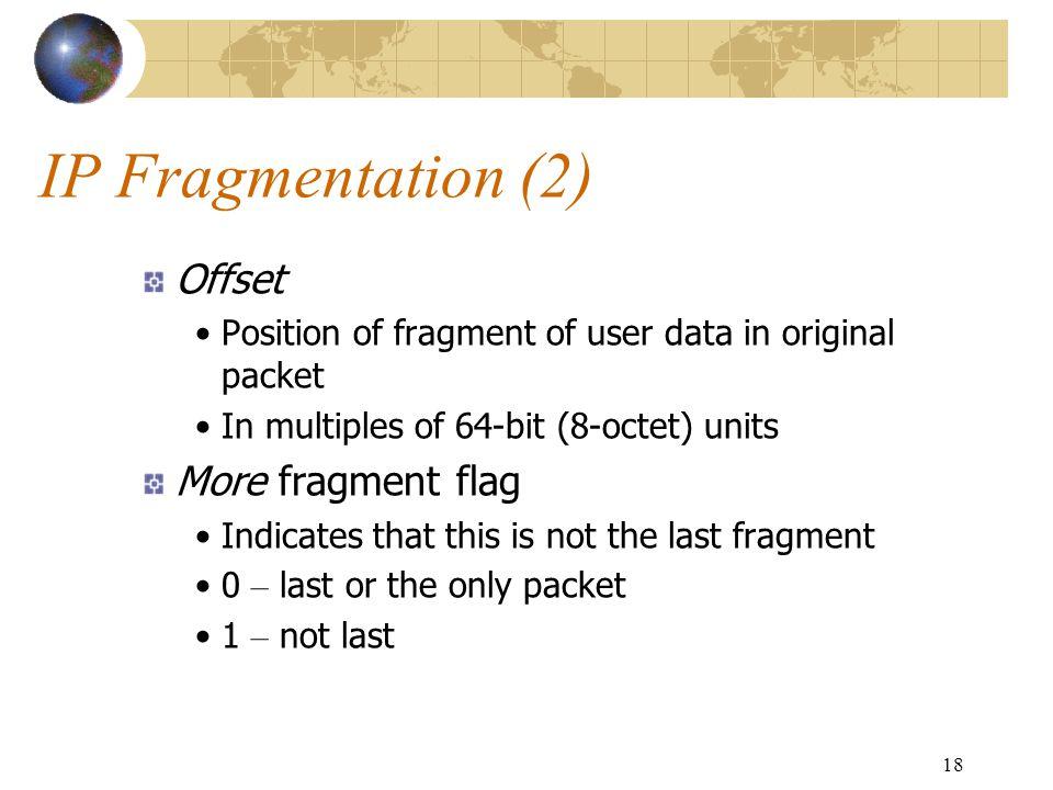 IP Fragmentation (2) Offset More fragment flag