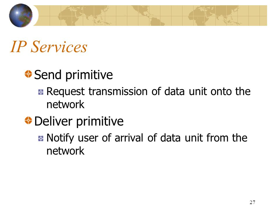 IP Services Send primitive Deliver primitive