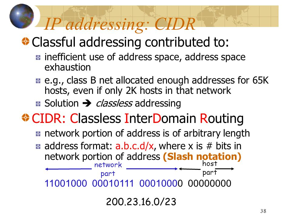 IP addressing: CIDR Classful addressing contributed to: