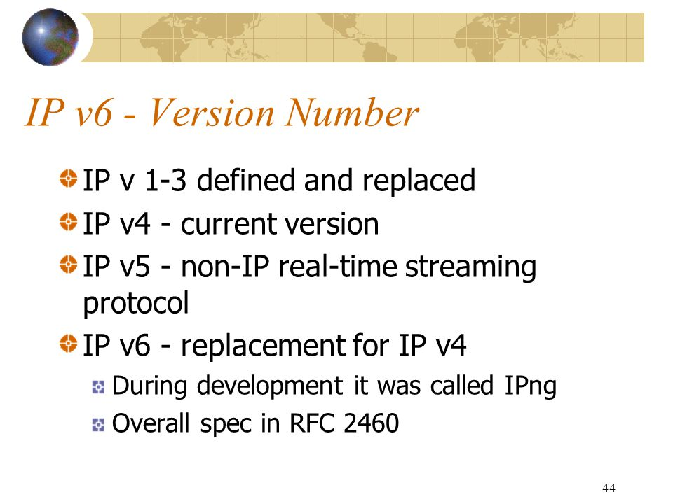 IP v6 - Version Number IP v 1-3 defined and replaced