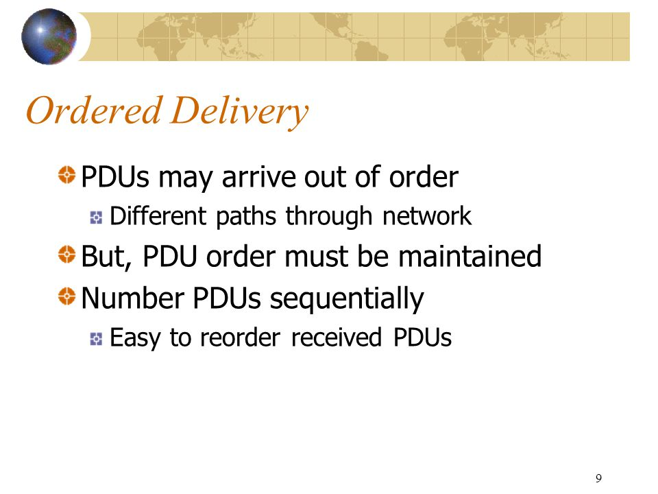 Ordered Delivery PDUs may arrive out of order