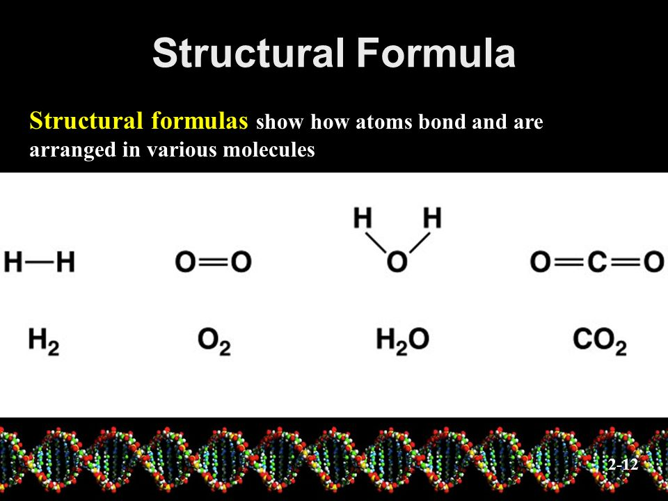 Structural Formula Structural formulas show how atoms bond and are arranged in various molecules.